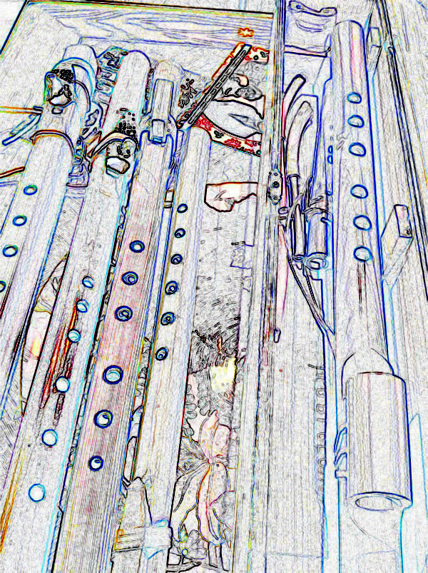 stylized photo of flutes laid out on a table
