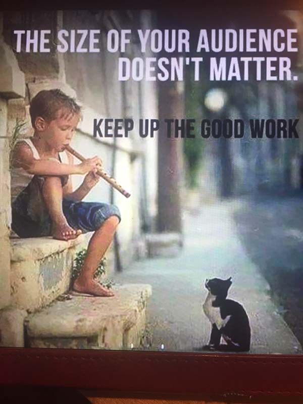 poster of kid playing flute to a cat